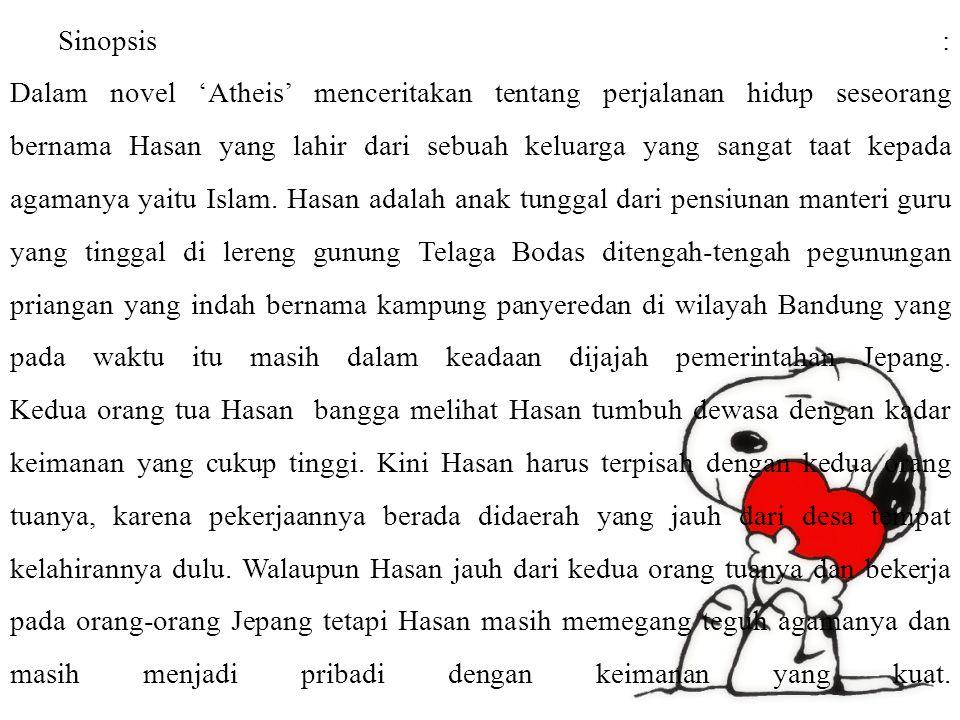 Sinopsis : Dalam novel 'Atheis' menceritakan tentang perjalanan hidup seseorang bernama Hasan yang lahir dari sebuah keluarga yang sangat taat kepada agamanya yaitu Islam.
