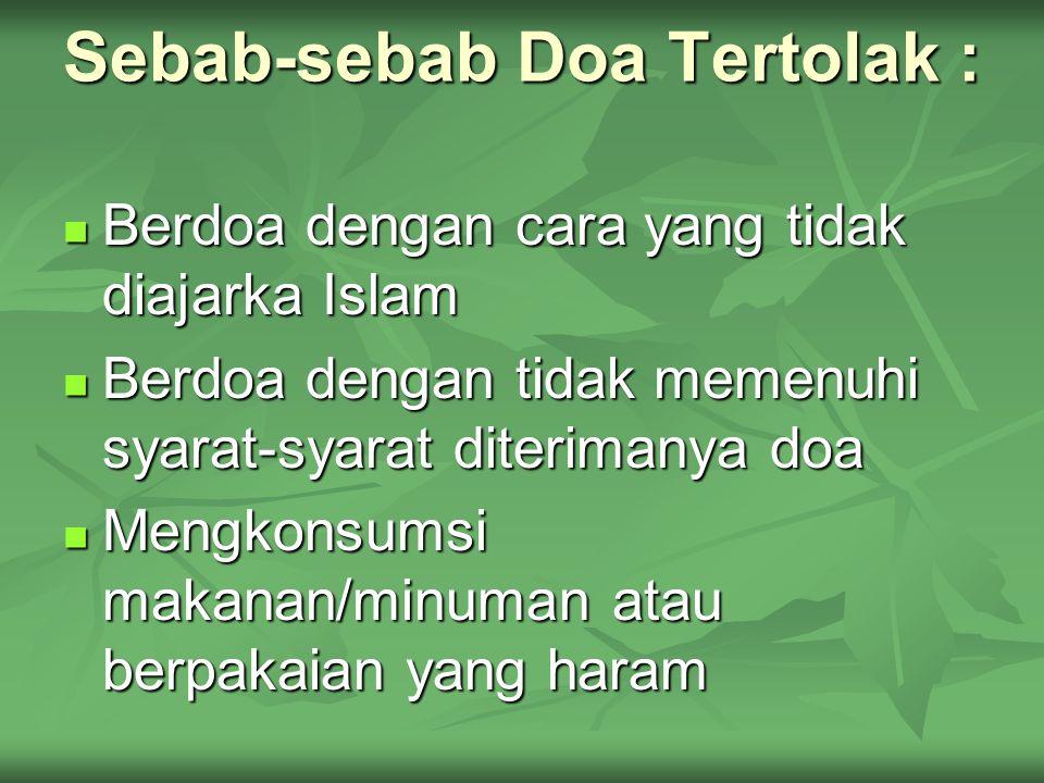 Sebab-sebab Doa Tertolak :