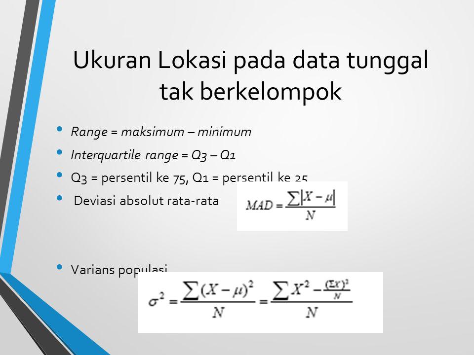 Ukuran Lokasi pada data tunggal tak berkelompok