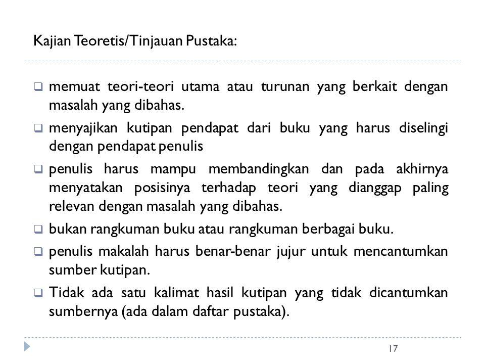 Kajian Teoretis/Tinjauan Pustaka: