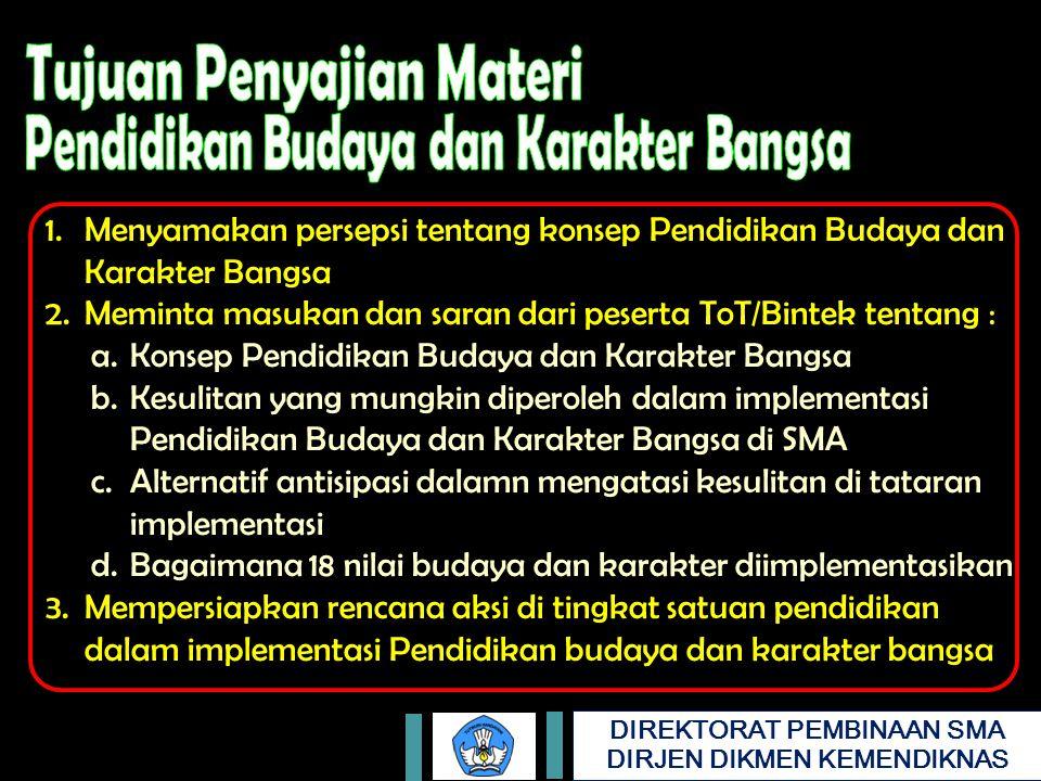 Meminta masukan dan saran dari peserta ToT/Bintek tentang :