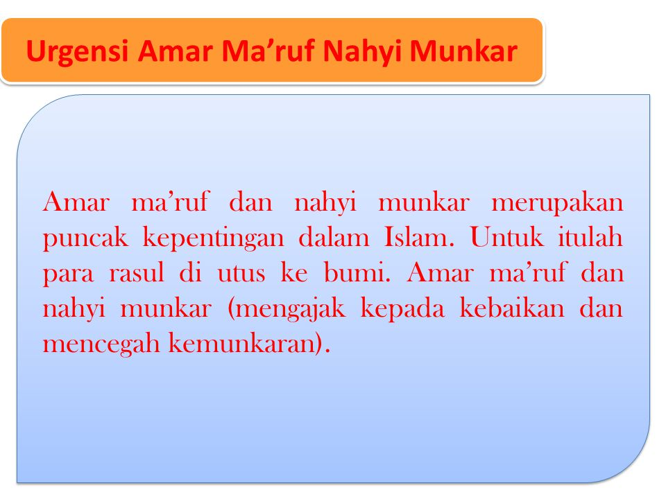 Urgensi Amar Ma'ruf Nahyi Munkar