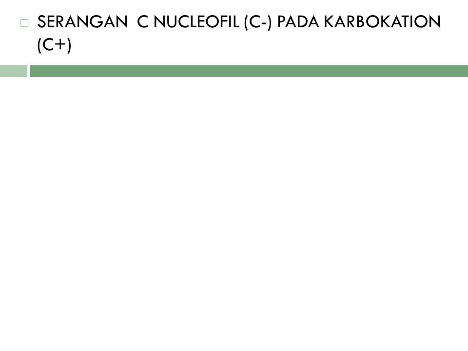 SERANGAN C NUCLEOFIL (C-) PADA KARBOKATION (C+)
