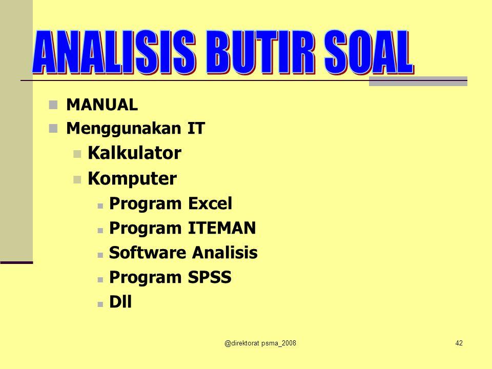 ANALISIS BUTIR SOAL Kalkulator Komputer Program Excel Program ITEMAN
