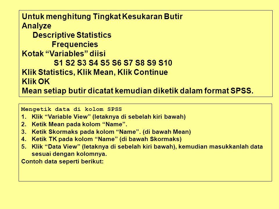 Untuk menghitung Tingkat Kesukaran Butir Analyze