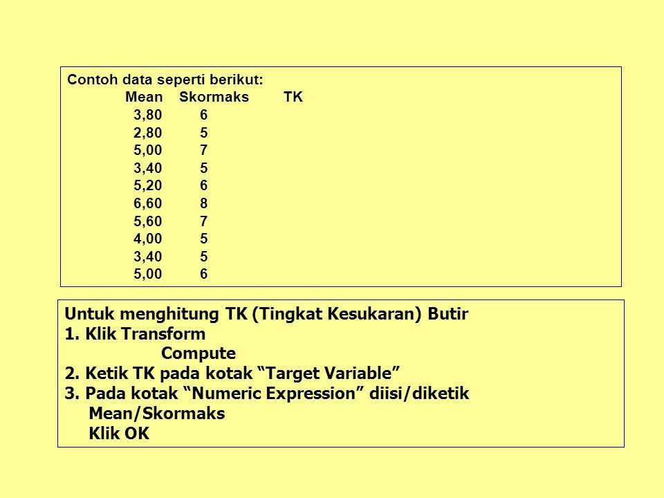 Untuk menghitung TK (Tingkat Kesukaran) Butir 1. Klik Transform