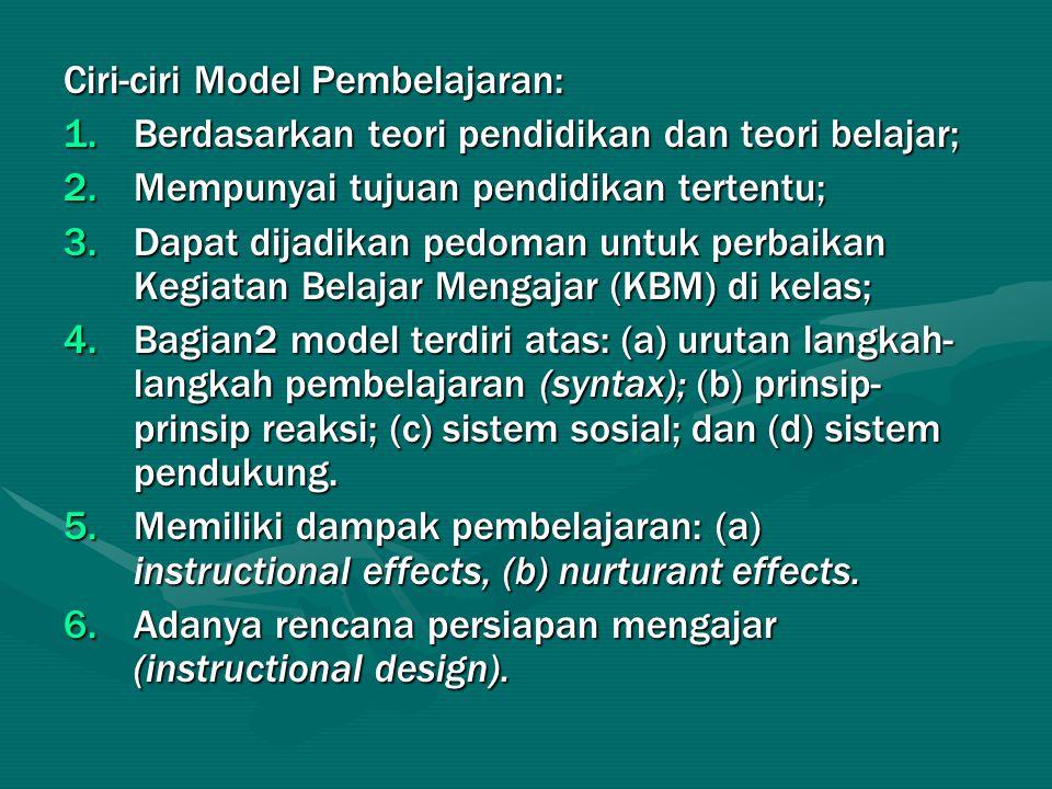 Ciri-ciri Model Pembelajaran: