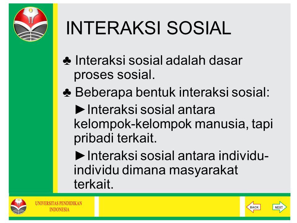 INTERAKSI SOSIAL ♣ Interaksi sosial adalah dasar proses sosial.