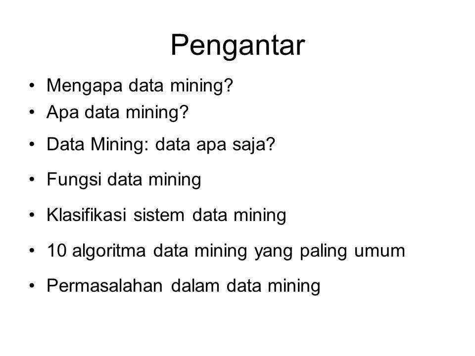 Pengantar Mengapa data mining Apa data mining
