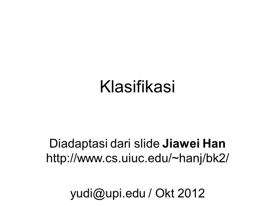 Diadaptasi dari slide Jiawei Han http://www.cs.uiuc.edu/~hanj/bk2/