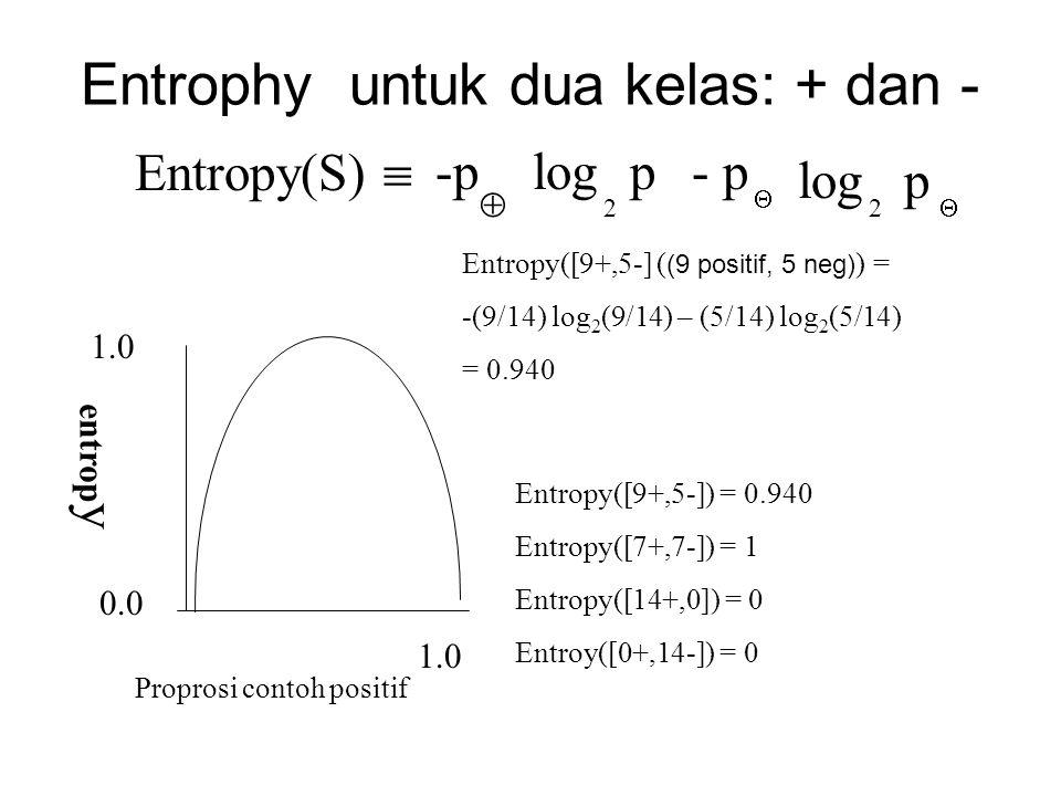 Entrophy untuk dua kelas: + dan -