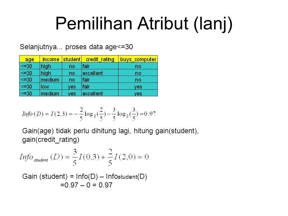 Pemilihan Atribut (lanj)