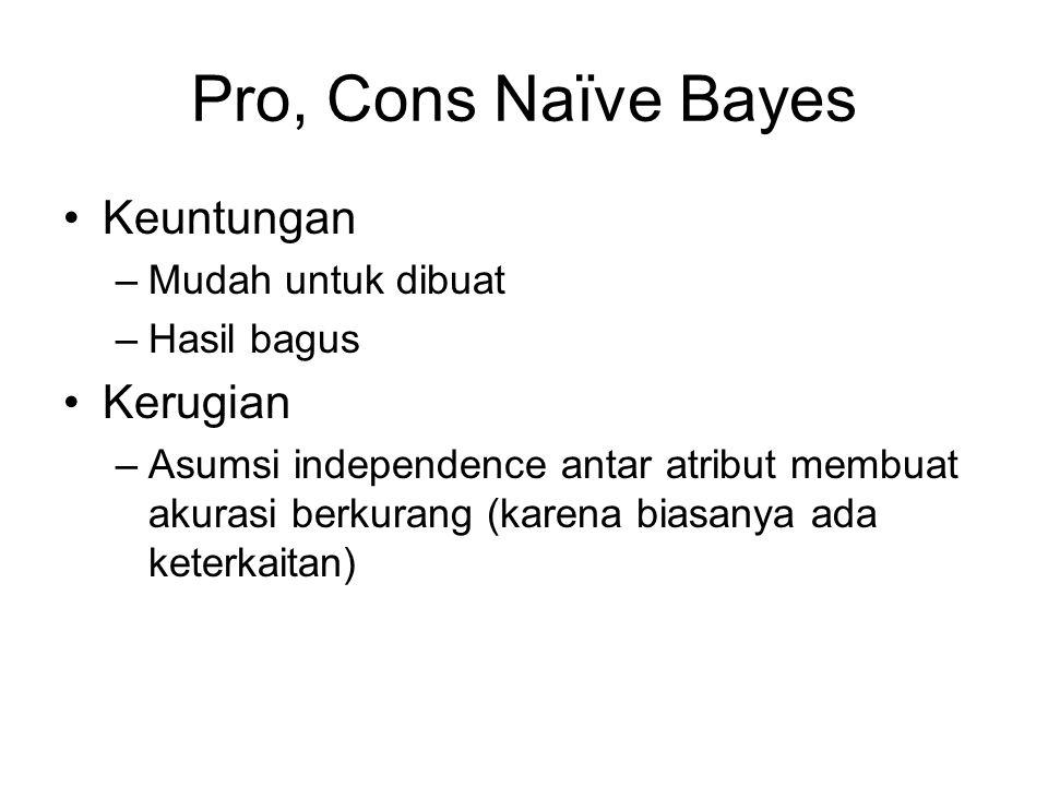 Pro, Cons Naïve Bayes Keuntungan Kerugian Mudah untuk dibuat