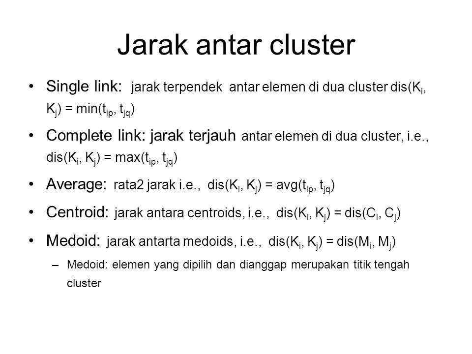 Jarak antar cluster Single link: jarak terpendek antar elemen di dua cluster dis(Ki, Kj) = min(tip, tjq)