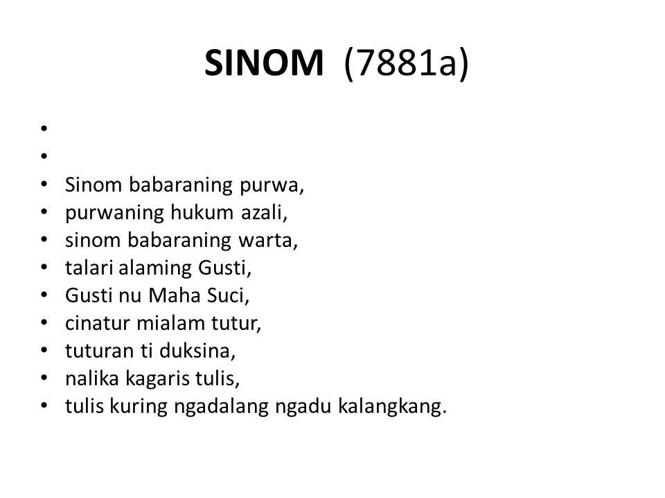 SINOM (7881a) Sinom babaraning purwa, purwaning hukum azali,
