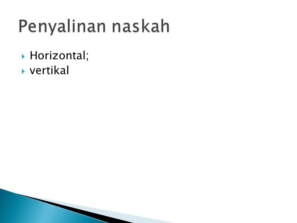 Penyalinan naskah Horizontal; vertikal