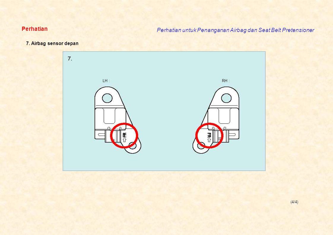 Perhatian untuk Penanganan Airbag dan Seat Belt Pretensioner