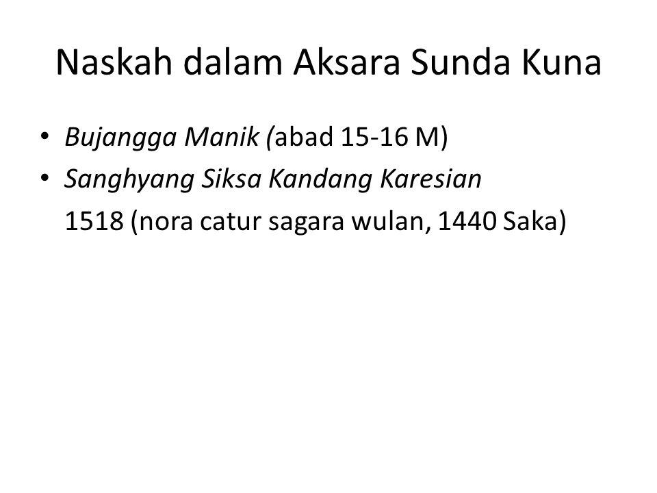 Naskah dalam Aksara Sunda Kuna