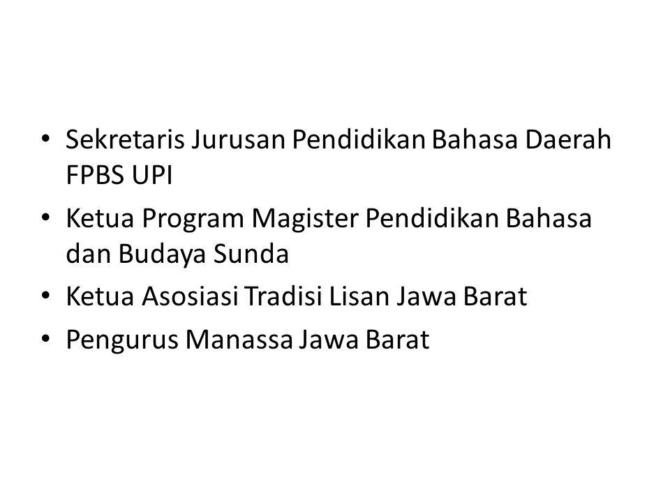 Sekretaris Jurusan Pendidikan Bahasa Daerah FPBS UPI