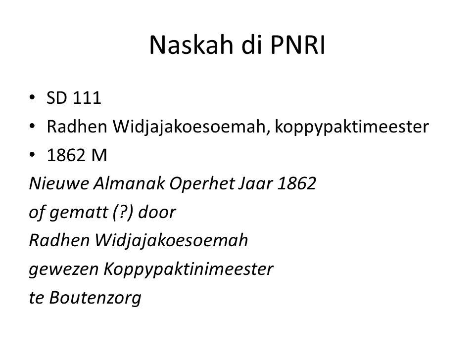 Naskah di PNRI SD 111 Radhen Widjajakoesoemah, koppypaktimeester