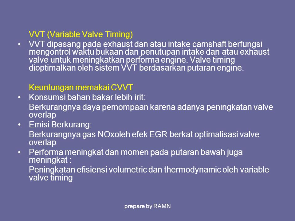 VVT (Variable Valve Timing)