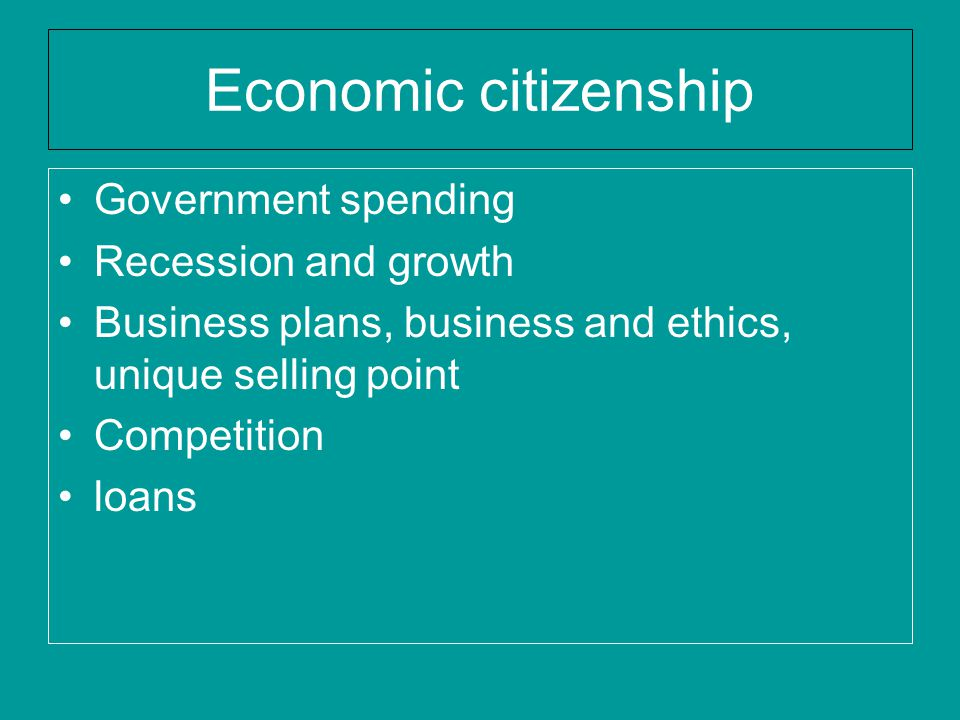 Economic citizenship Government spending Recession and growth