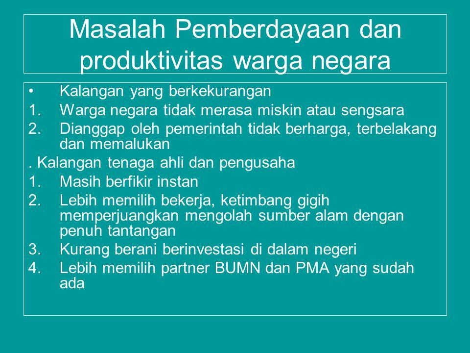 Masalah Pemberdayaan dan produktivitas warga negara