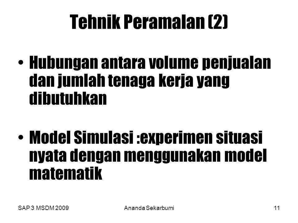 Tehnik Peramalan (2) Hubungan antara volume penjualan dan jumlah tenaga kerja yang dibutuhkan.