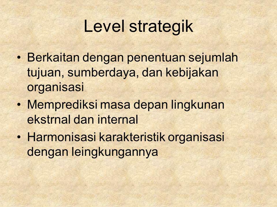 Level strategik Berkaitan dengan penentuan sejumlah tujuan, sumberdaya, dan kebijakan organisasi.