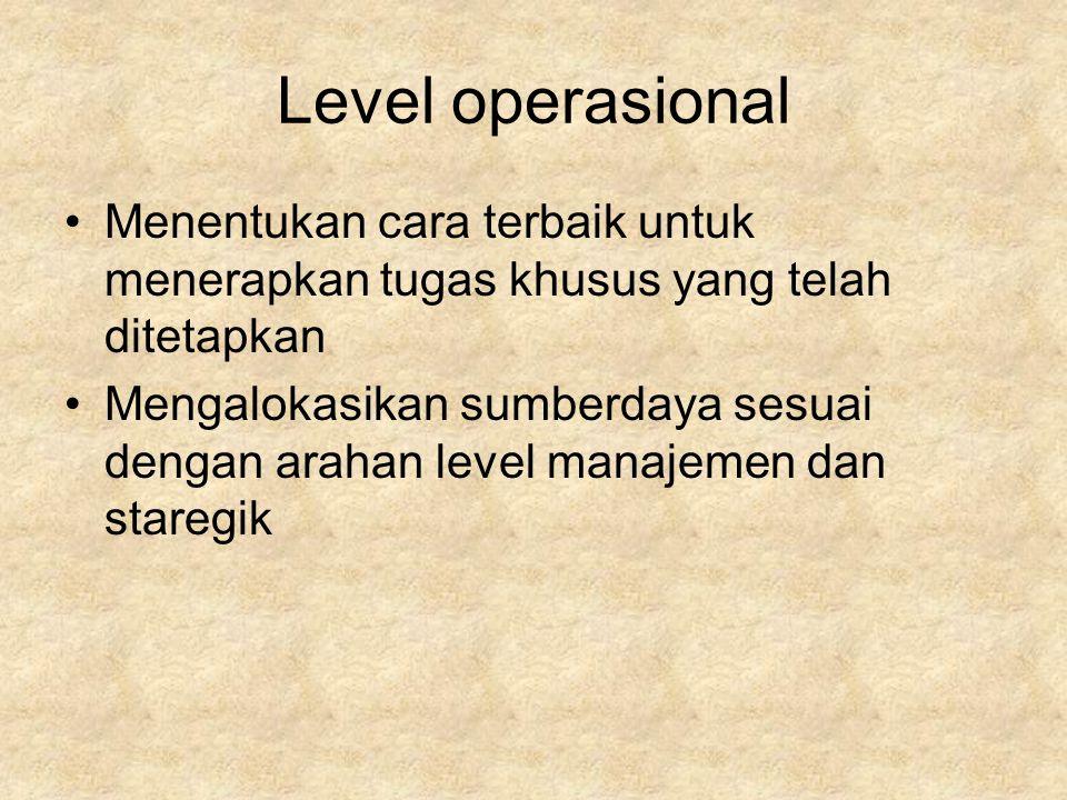 Level operasional Menentukan cara terbaik untuk menerapkan tugas khusus yang telah ditetapkan.