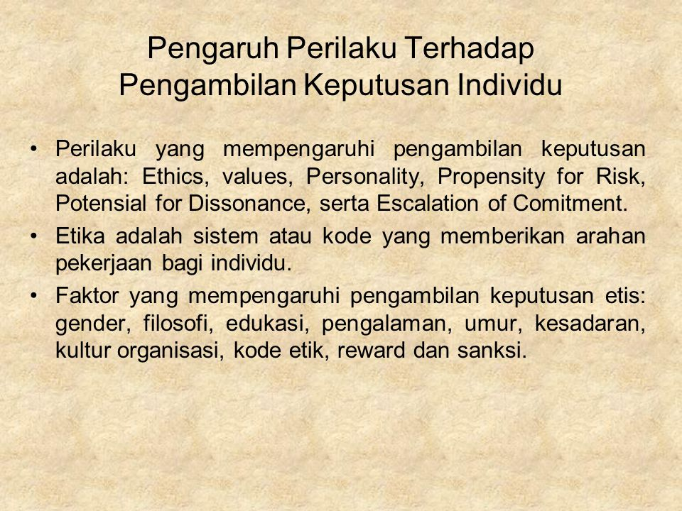 Pengaruh Perilaku Terhadap Pengambilan Keputusan Individu