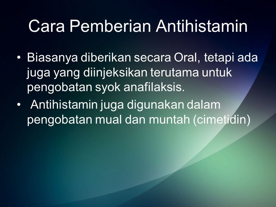 Cara Pemberian Antihistamin