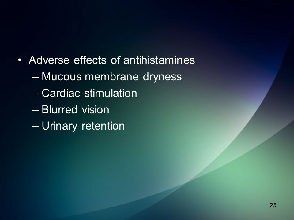 Adverse effects of antihistamines