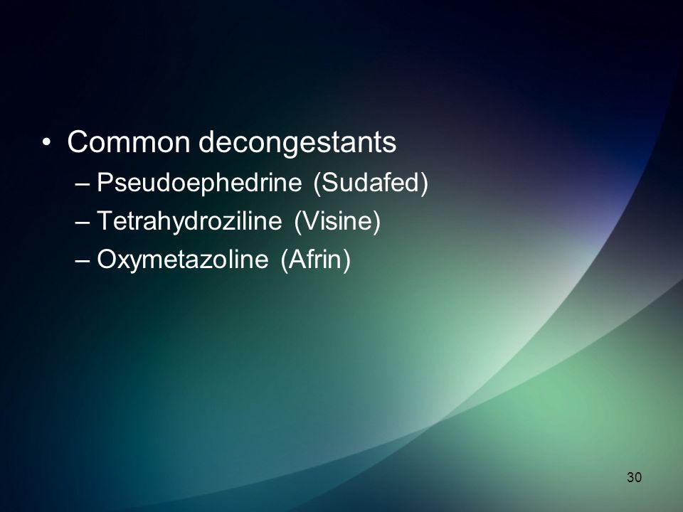 Common decongestants Pseudoephedrine (Sudafed)
