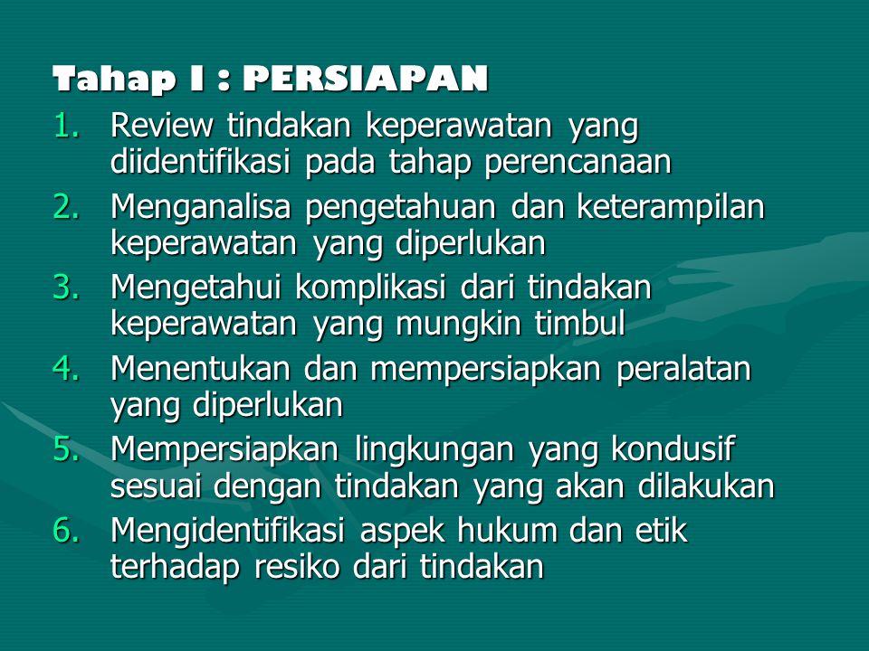 Tahap I : PERSIAPAN Review tindakan keperawatan yang diidentifikasi pada tahap perencanaan.