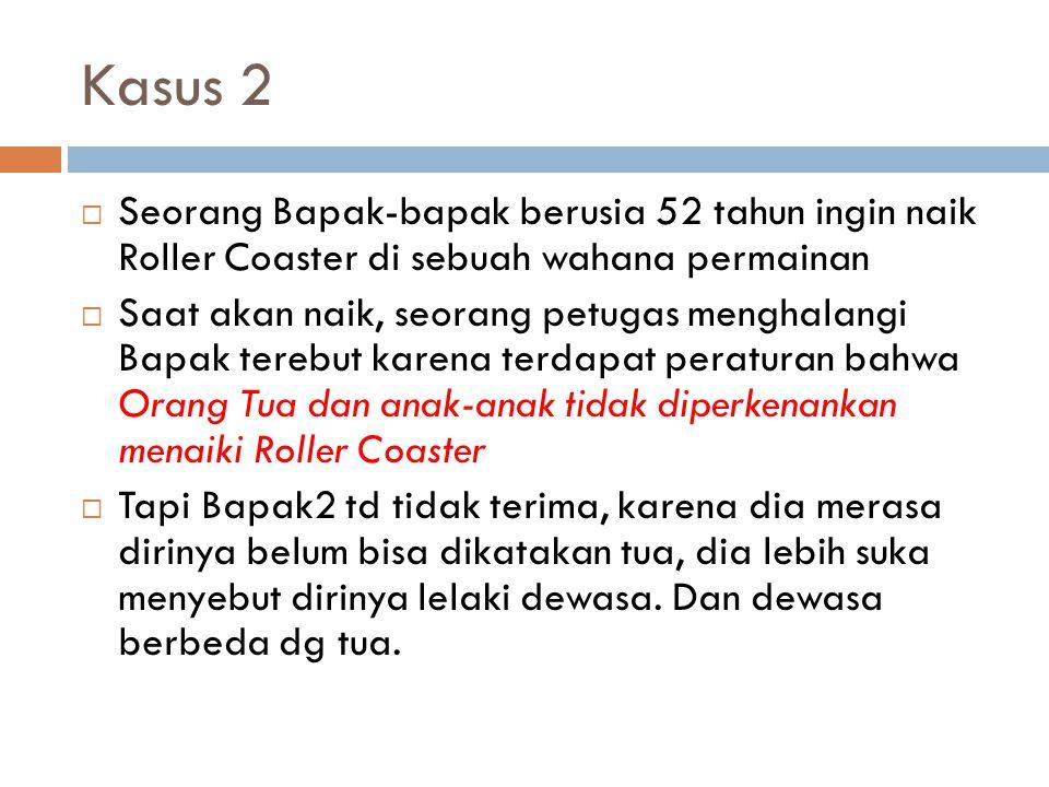 Kasus 2 Seorang Bapak-bapak berusia 52 tahun ingin naik Roller Coaster di sebuah wahana permainan.