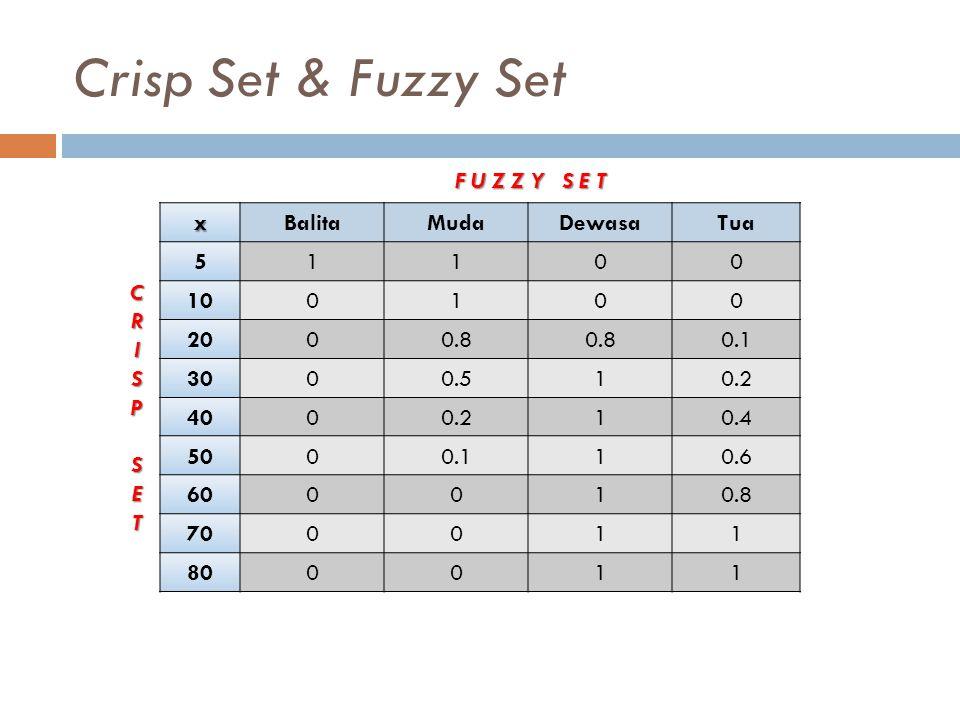 Crisp Set & Fuzzy Set F U Z Z Y S E T x Balita Muda Dewasa Tua 5 1 10