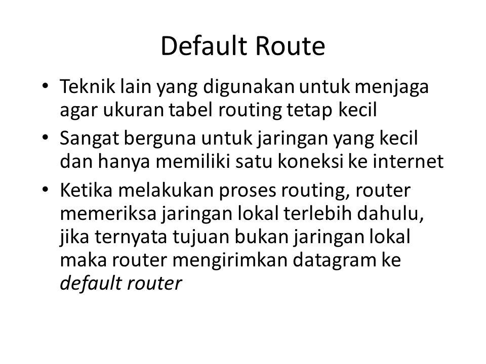 Default Route Teknik lain yang digunakan untuk menjaga agar ukuran tabel routing tetap kecil.