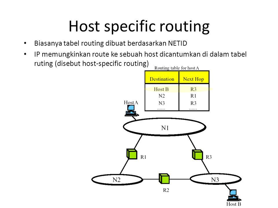Host specific routing Biasanya tabel routing dibuat berdasarkan NETID