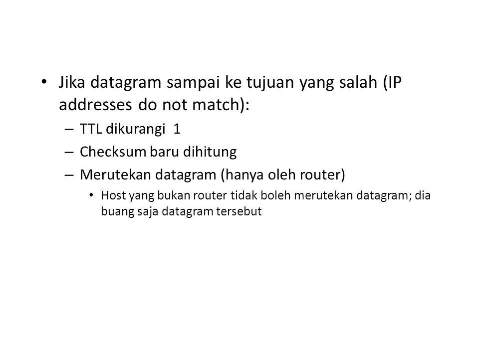 Jika datagram sampai ke tujuan yang salah (IP addresses do not match):