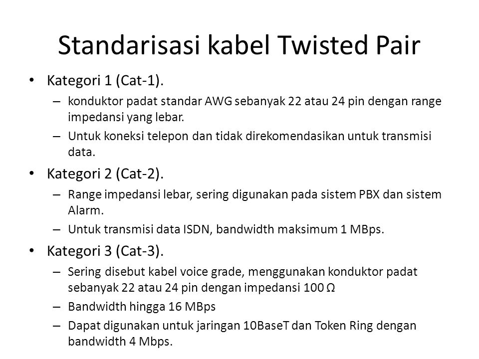 Standarisasi kabel Twisted Pair