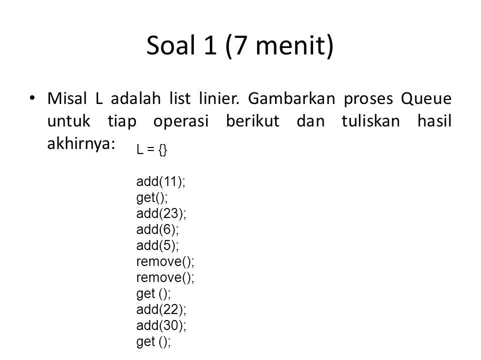 Soal 1 (7 menit) Misal L adalah list linier. Gambarkan proses Queue untuk tiap operasi berikut dan tuliskan hasil akhirnya: