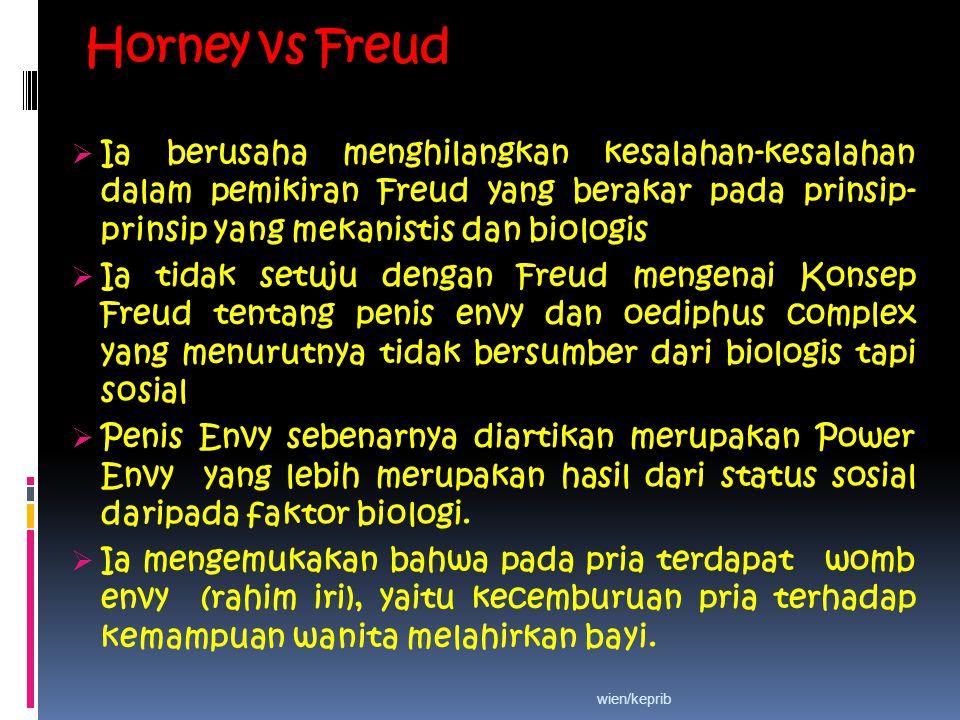 Horney vs Freud Ia berusaha menghilangkan kesalahan-kesalahan dalam pemikiran Freud yang berakar pada prinsip-prinsip yang mekanistis dan biologis.