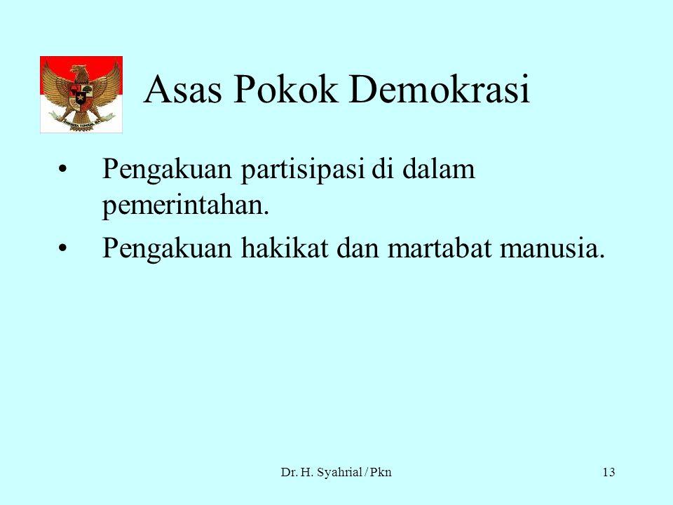 Asas Pokok Demokrasi Pengakuan partisipasi di dalam pemerintahan.
