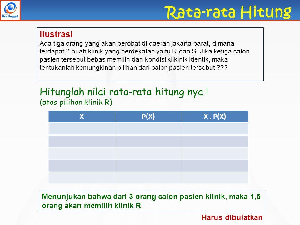 Rata-rata Hitung Hitunglah nilai rata-rata hitung nya ! Ilustrasi