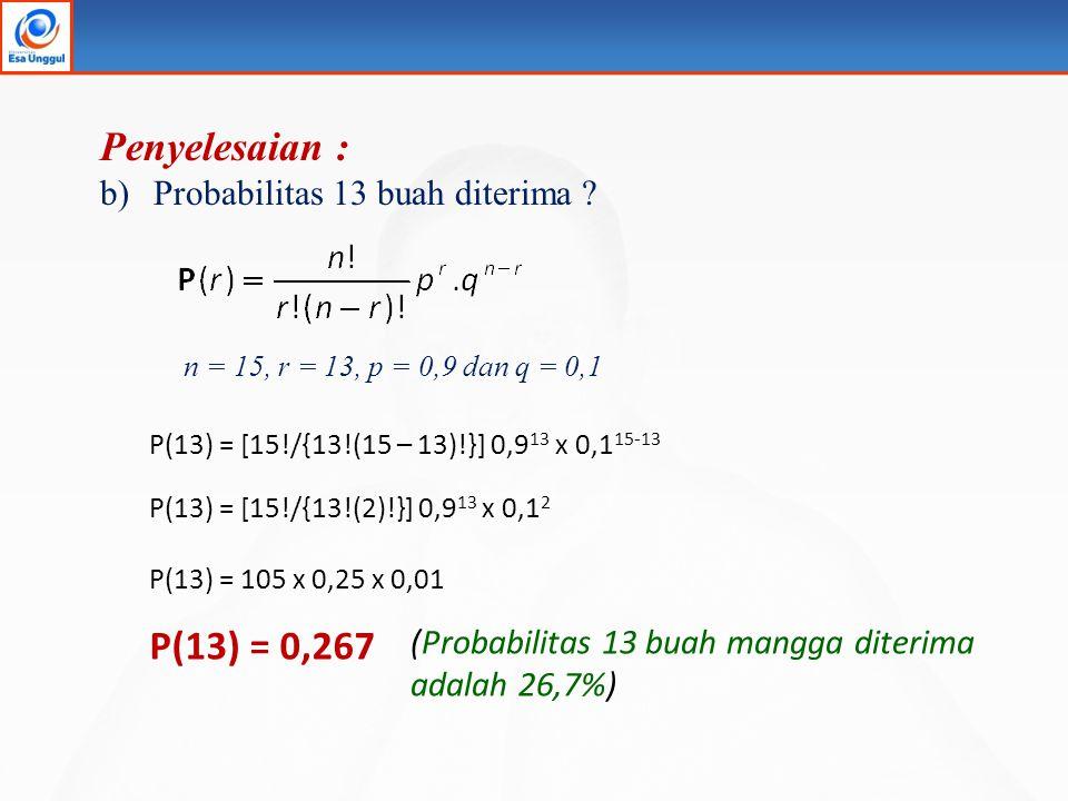 Penyelesaian : P(13) = 0,267 Probabilitas 13 buah diterima