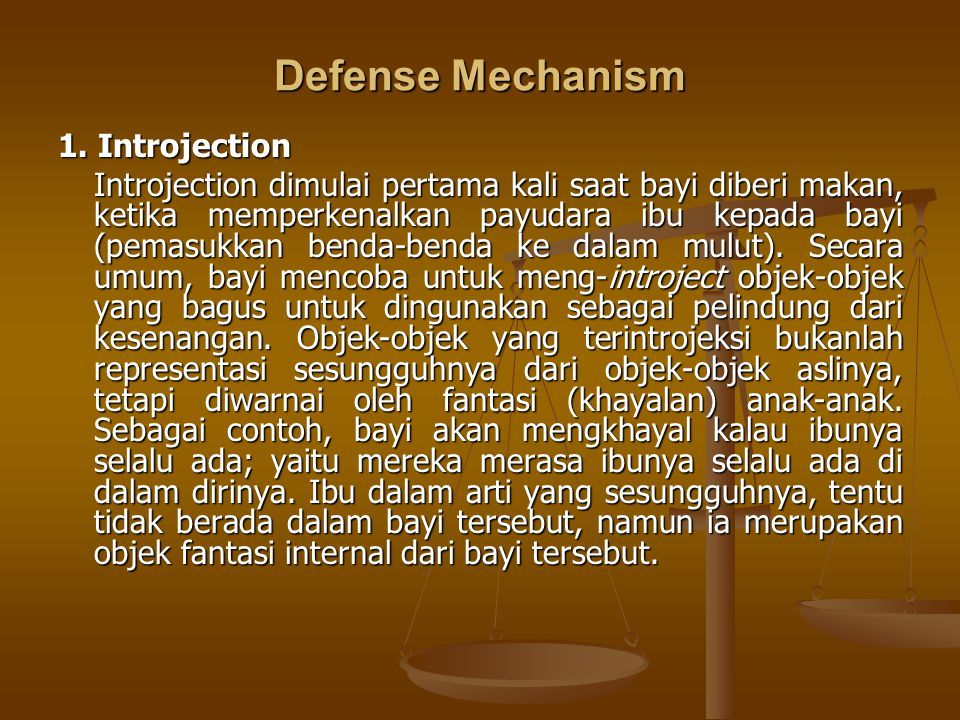 Defense Mechanism 1. Introjection