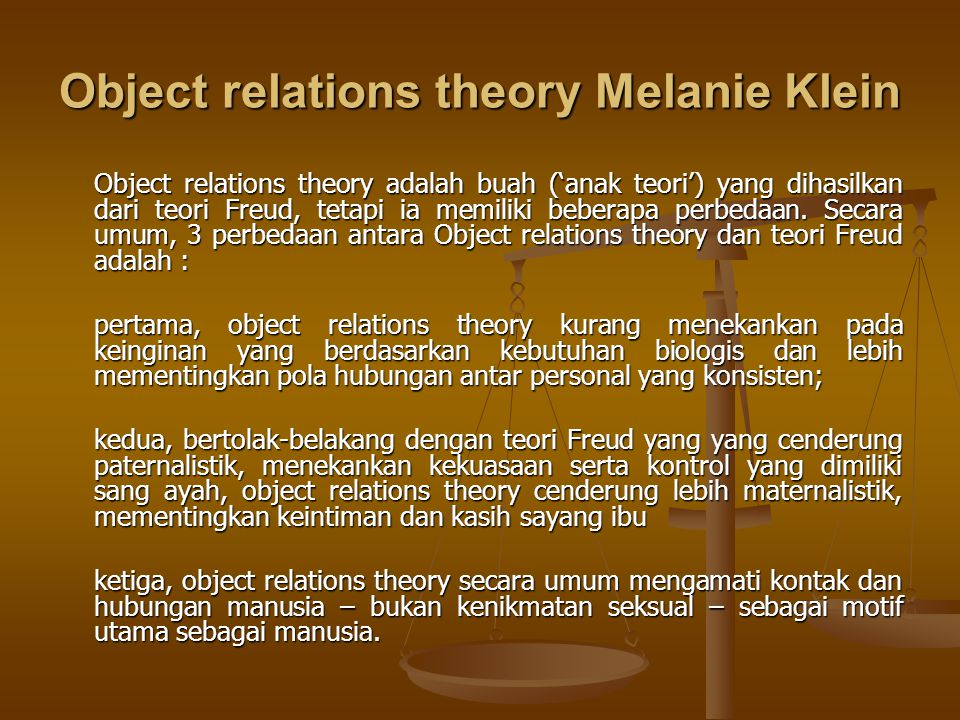 Object relations theory Melanie Klein