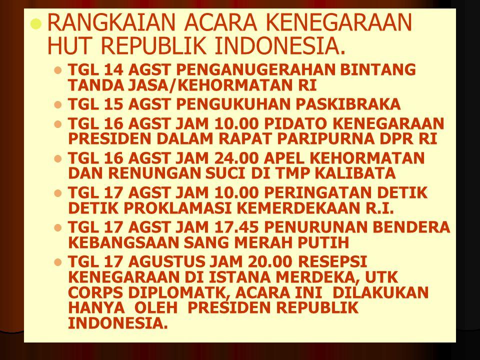 RANGKAIAN ACARA KENEGARAAN HUT REPUBLIK INDONESIA.