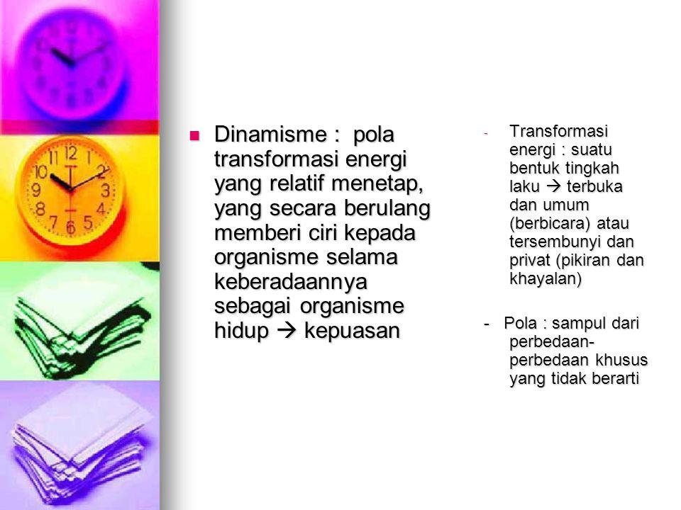 Dinamisme : pola transformasi energi yang relatif menetap, yang secara berulang memberi ciri kepada organisme selama keberadaannya sebagai organisme hidup  kepuasan
